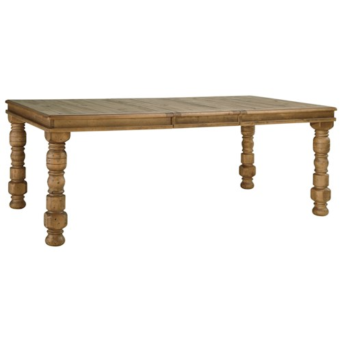 Signature Design by Ashley Trishley Solid Pine Rectangular Dining Room Extension Table with Turned Legs