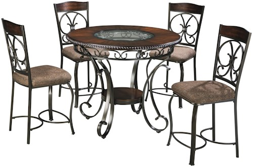 Signature Design by Ashley Glambrey Round Counter Table and 4 Barstool Set with Metal Accents