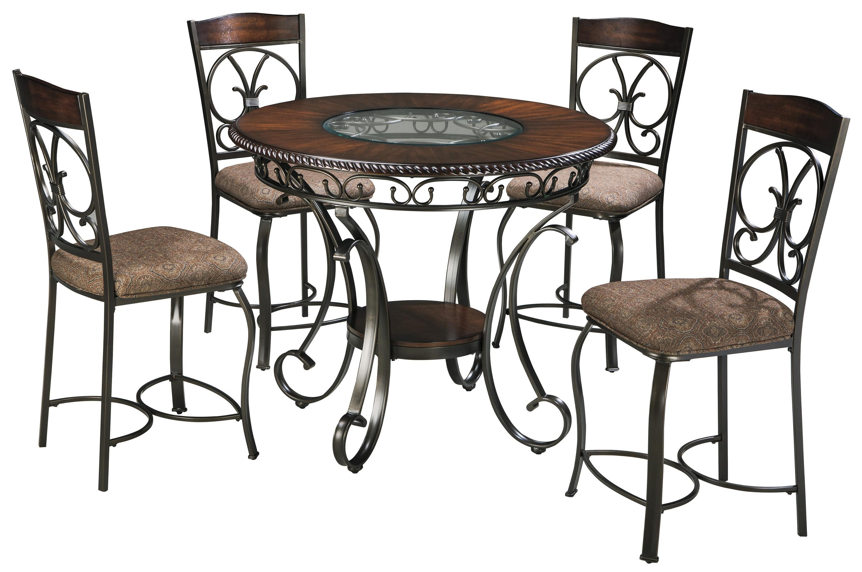 Signature Design By Ashley Glambrey Round Counter Table And 4 Barstool Set  With Metal Accents   Royal Furniture   Pub Table And Stool Set