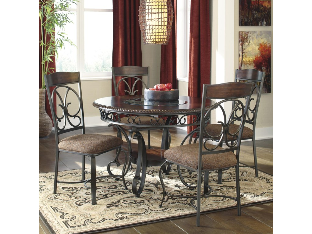 Glambrey Round Dining Table And 4 Chair Set With Metal Accents By Ashley Signature Design