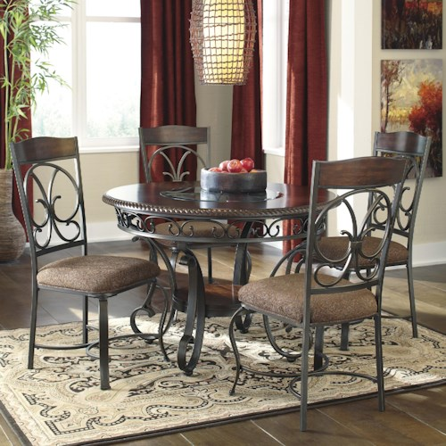 Signature Design by Ashley Glambrey Round Dining Table and 4 Chair Set with Metal Accents