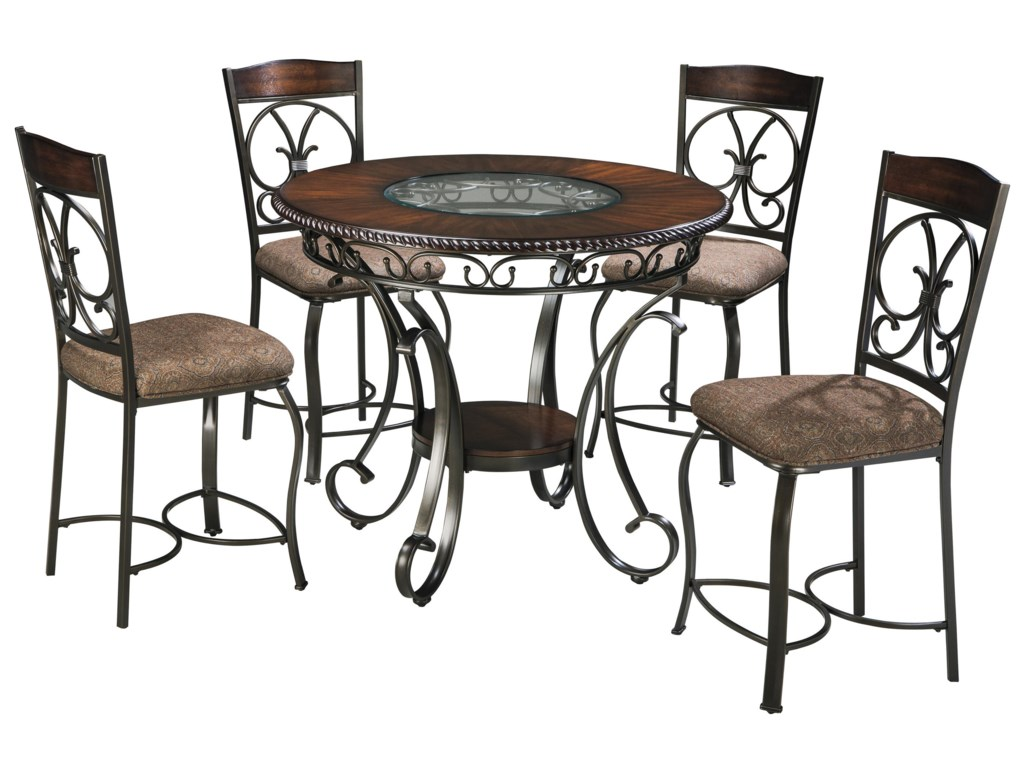 Glambrey Round Dining Table and 4 Chair Set with Metal Accents by Ashley  Signature Design at Rooms and Rest