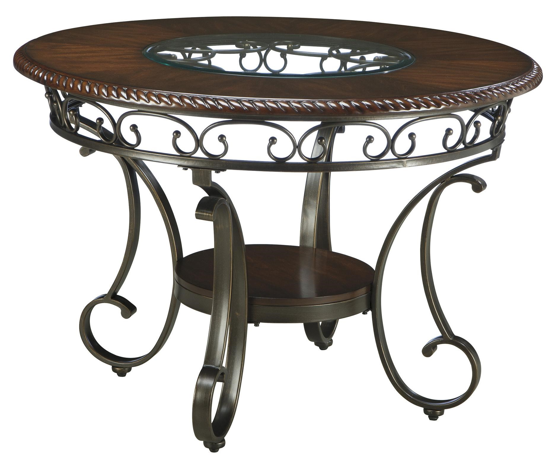 Round Dining Room Table with Metal Accents