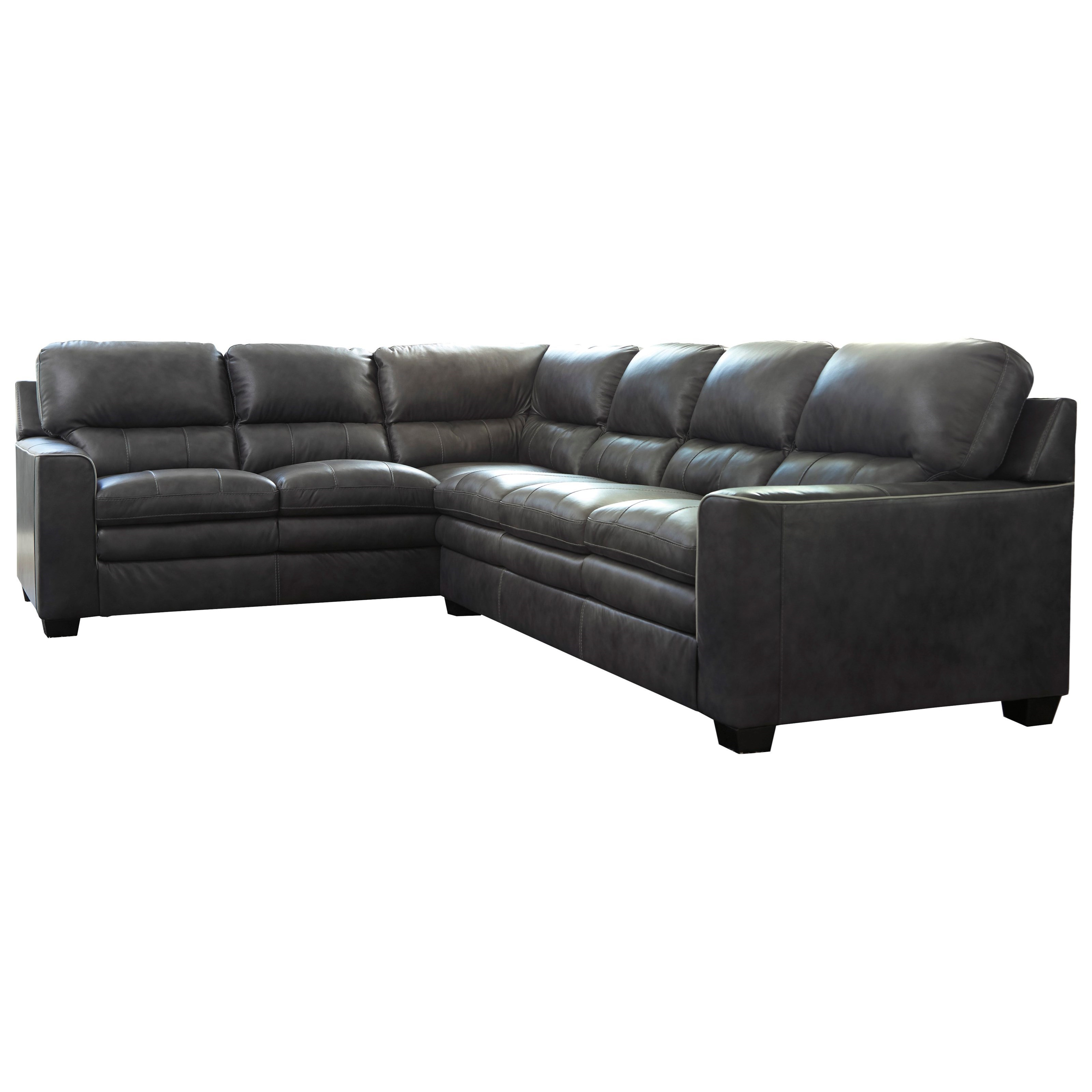 Signature Design By Ashley Gleason Leather Match L Shape Sectional   Becker  Furniture World   Sectional Sofas