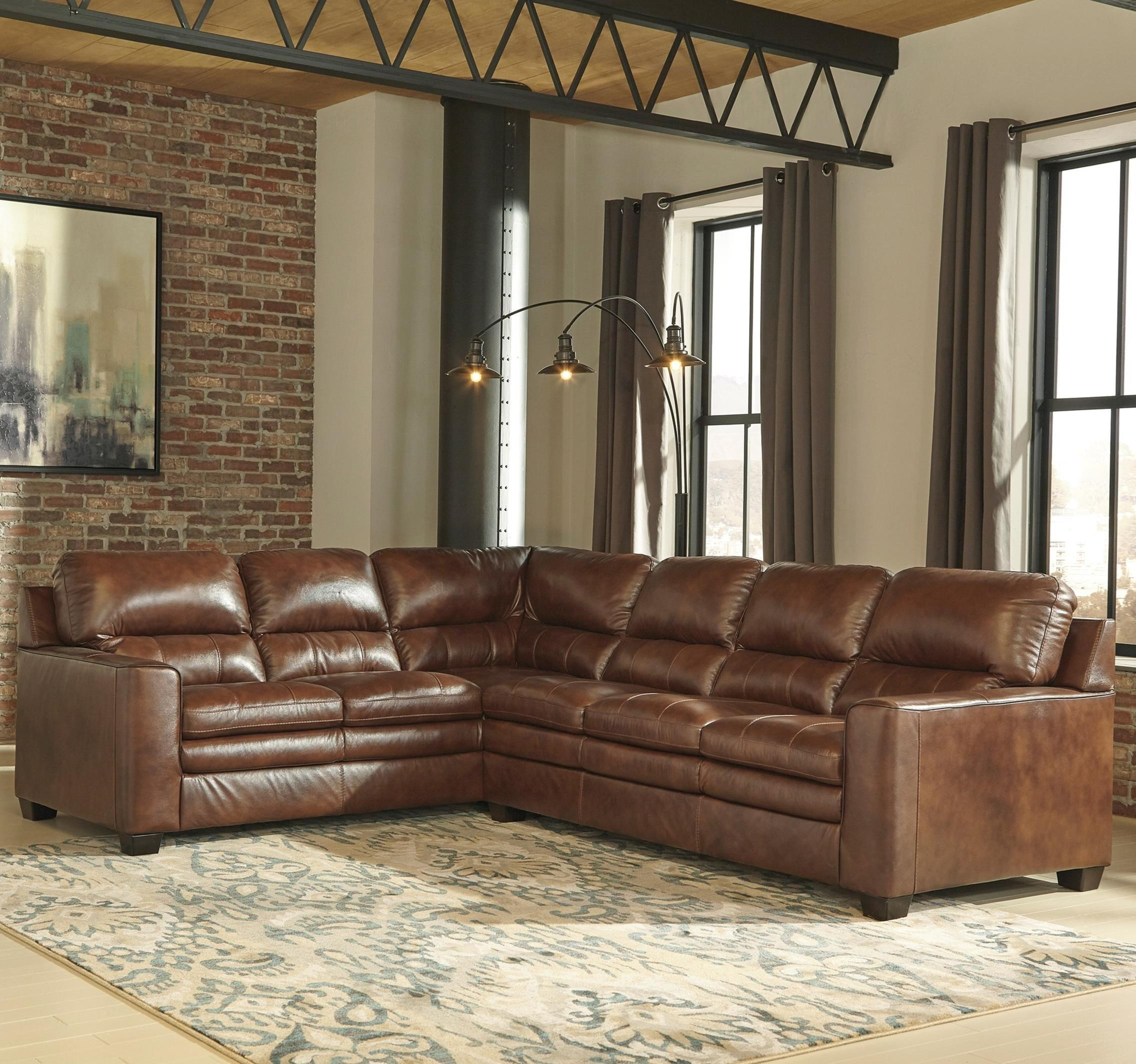 Signature Design By Ashley Gleason Leather Match L Shape Sectional