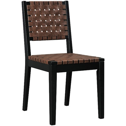 Signature Design by Ashley Glosco Woven Strap Faux Leather Dining Side Chair with Solid Wood Frame