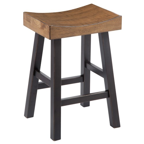 Signature Design by Ashley Glosco Rustic Two-Tone Stool with Saddle Seat