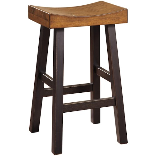 Signature Design by Ashley Glosco Rustic Two-Tone Tall Stool with Saddle Seat