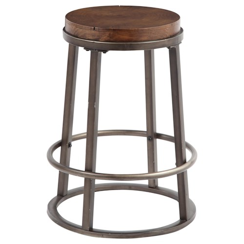 Signature Design by Ashley Glosco Modern Stool with Glazed Brown Metal Base & Growth Ring Wood Seat