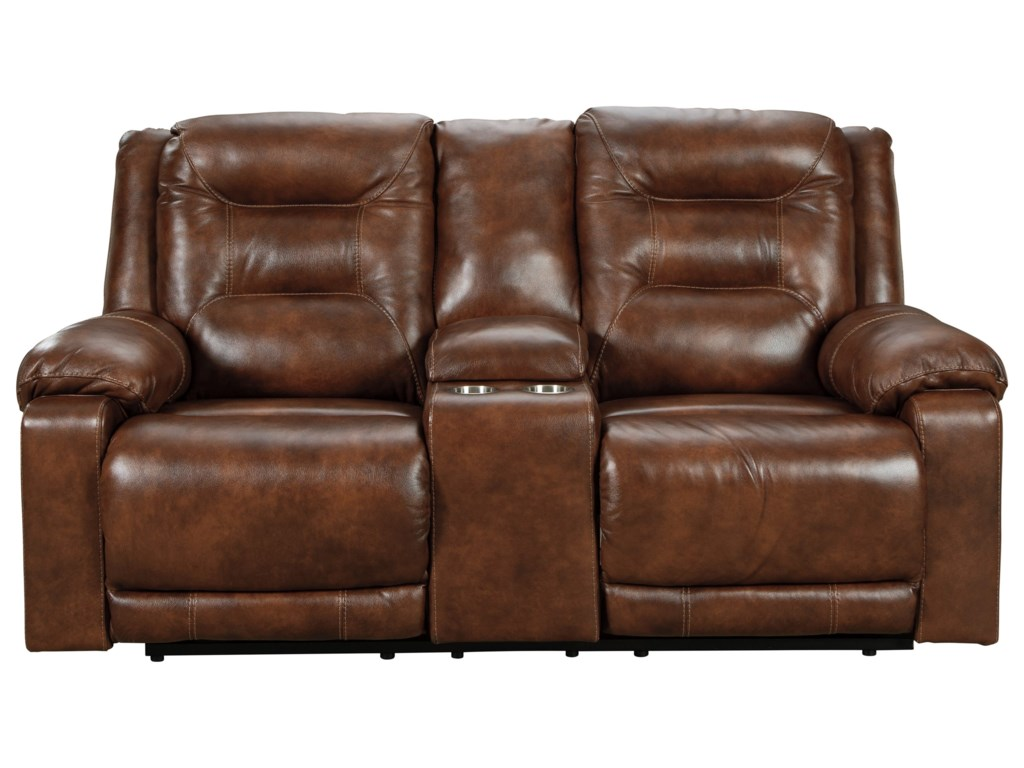 Signature Design by Ashley GolstonePower Loveseat w/ Console & Adj. Headrests
