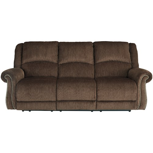 Signature Design by Ashley Goodlow Transitional Power Reclining Sofa w/ Adjustable Headrests & USB Charging