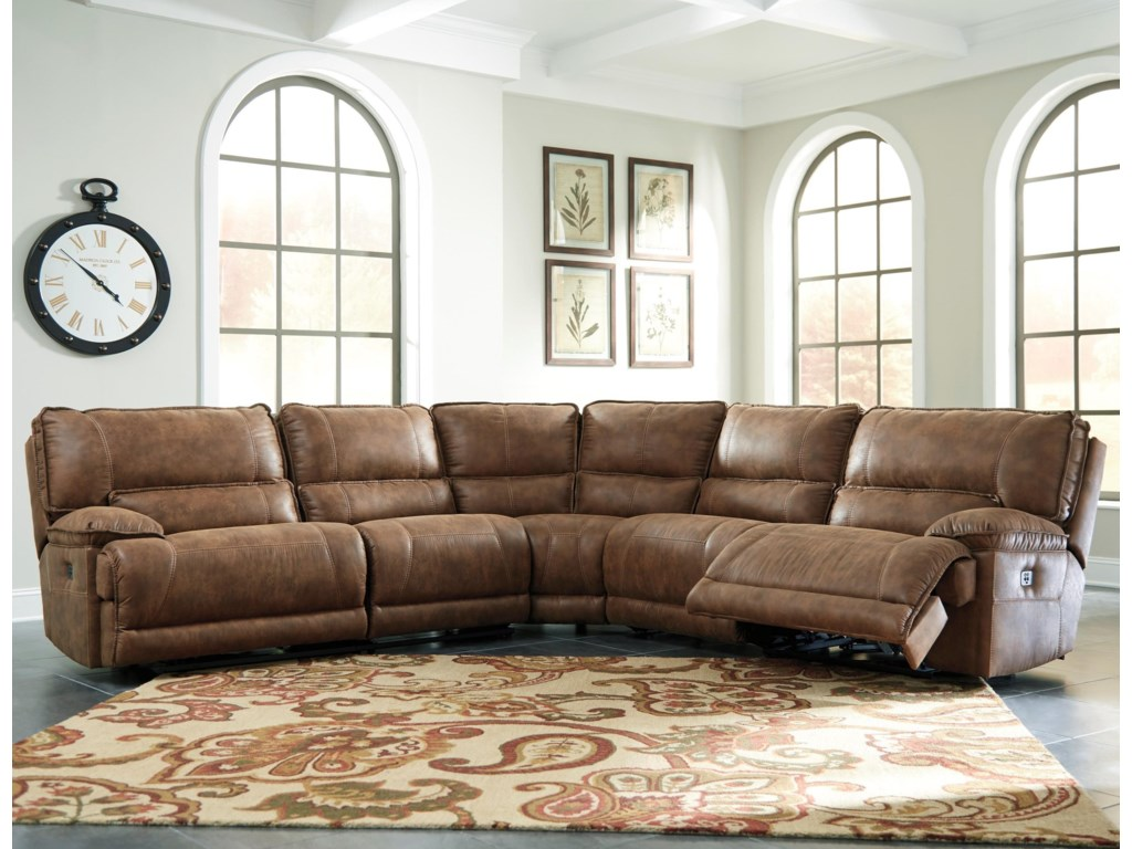 Ashley Signature Design Grattis 5 Piece Power Reclining Sectional In