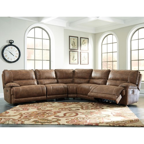 Signature Design by Ashley Grattis 5-Piece Power Reclining Sectional in Brown Faux Leather