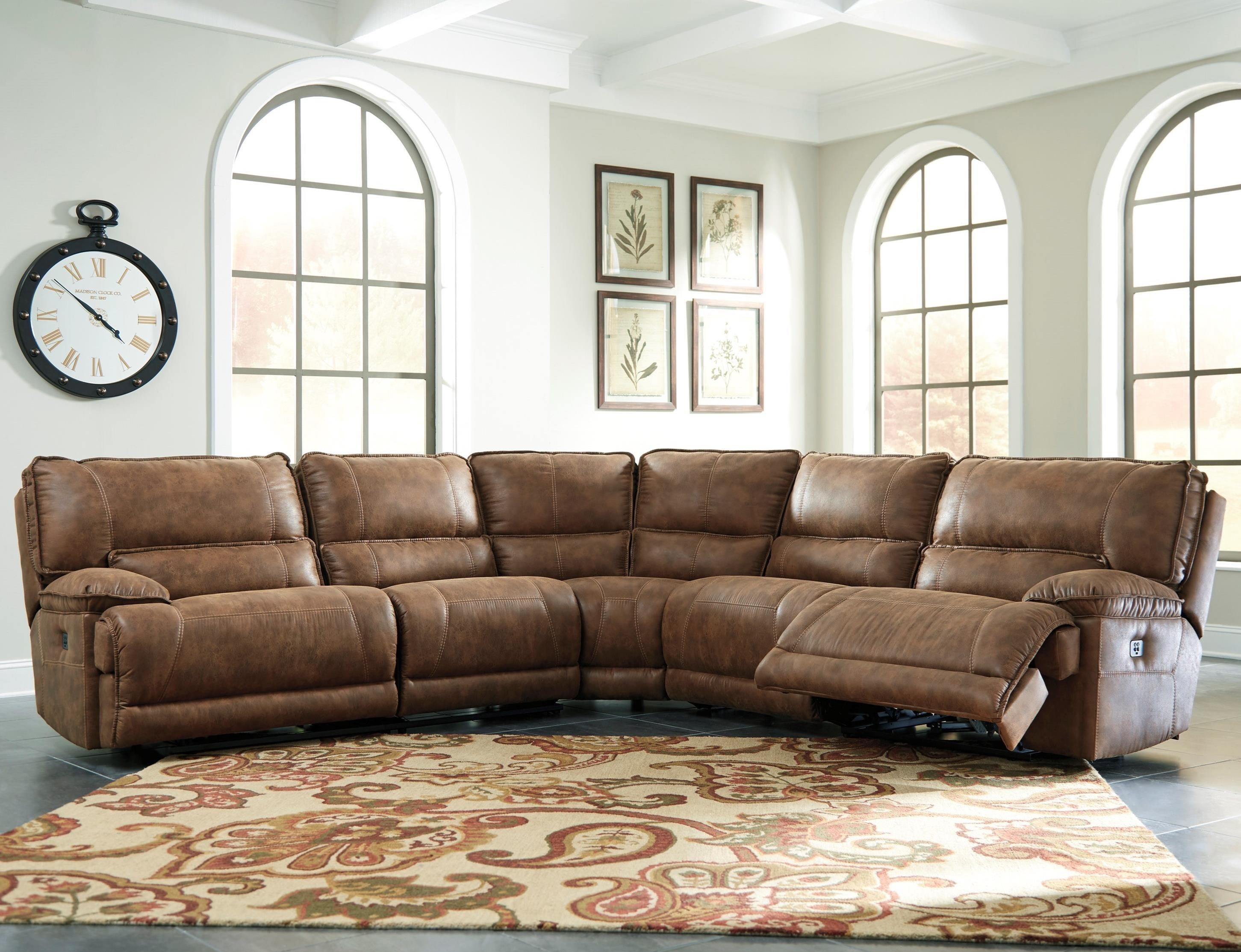 Signature Design By Ashley Grattis 5 Piece Power Reclining Sectional In  Brown Faux Leather