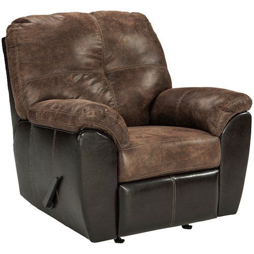 Signature Design by Ashley Gregale Two Tone Faux Leather Rocker Recliner with Pillow Arms
