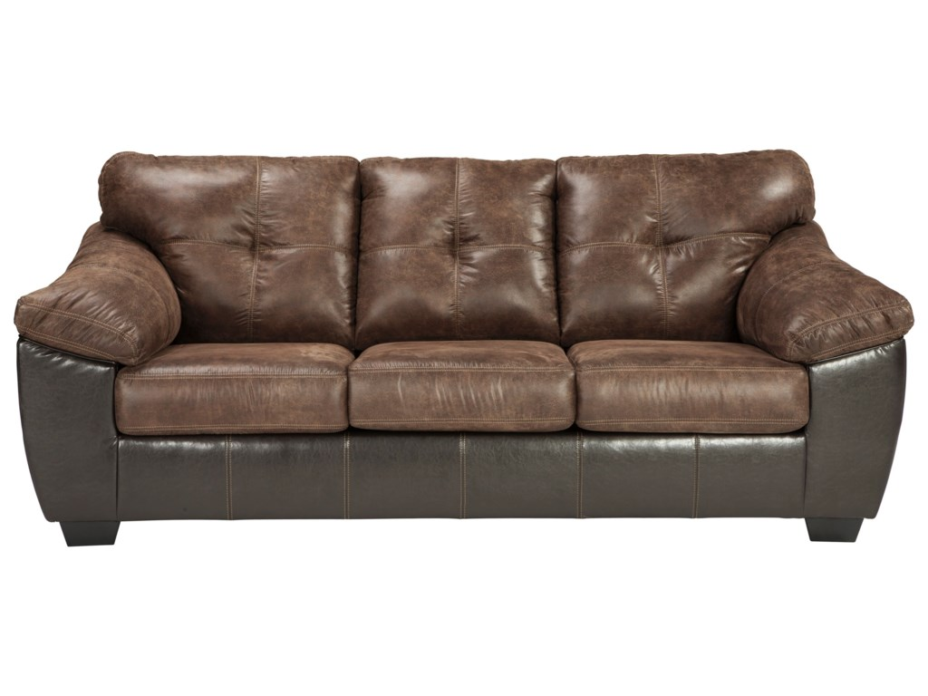 Gregale Brown/Dark Brown Faux Leather Sofa with Pillow Arms by Benchcraft  at Virginia Furniture Market
