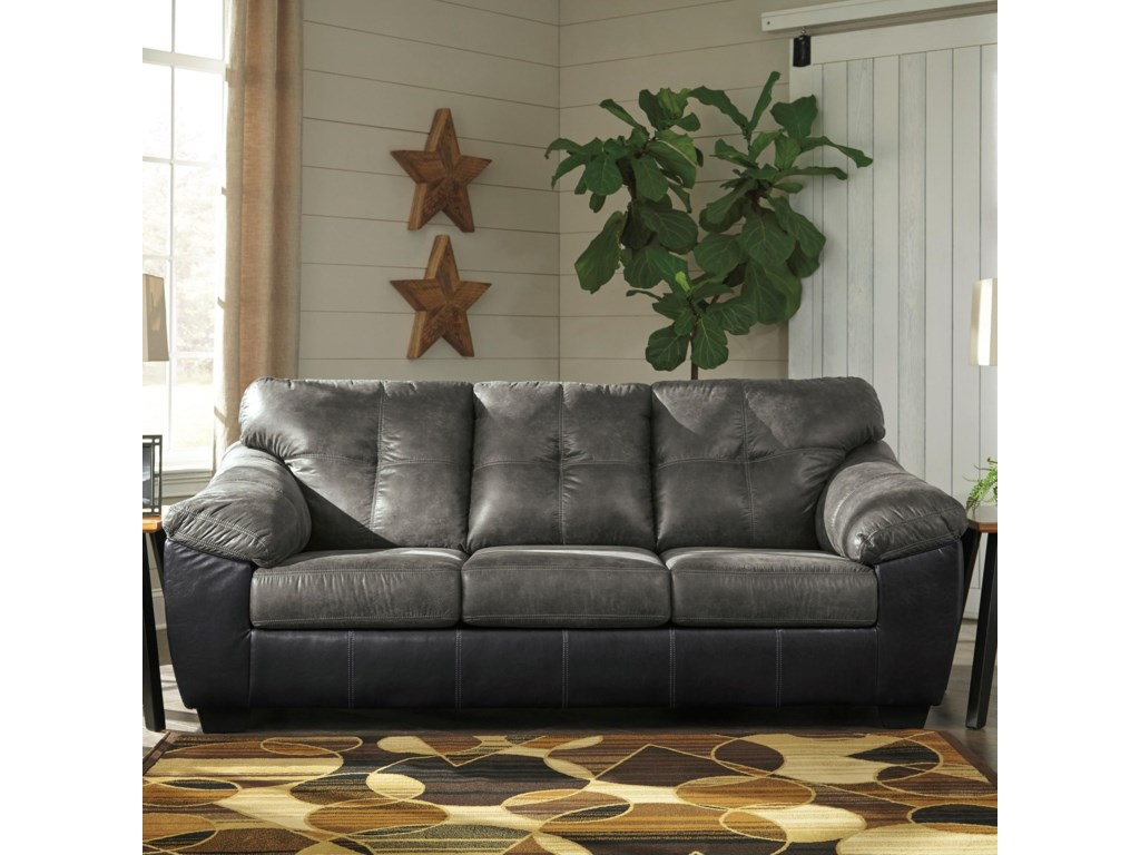 Gregale Two Tone Faux Leather Sofa with Pillow Arms by Signature Design by  Ashley at VanDrie Home Furnishings