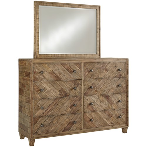 Signature Design by Ashley Grindleburg Rustic 8 Drawer Dresser and Mirror Set