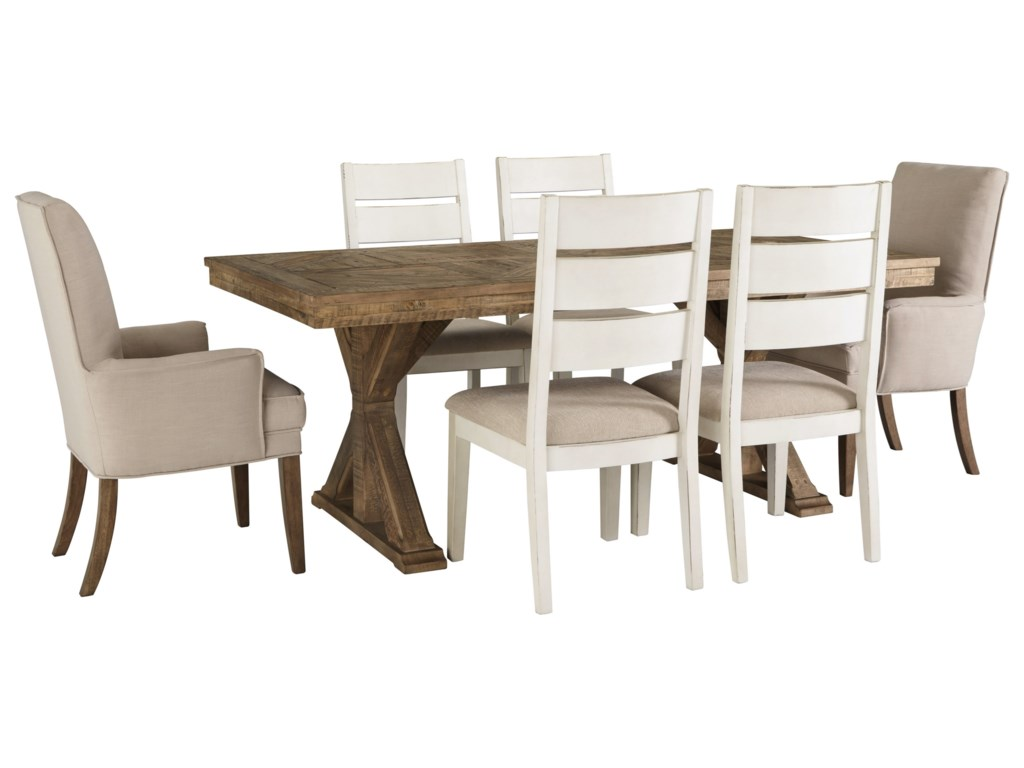Ashley Signature Design Grindleburg 7 Piece Rectangular Table And