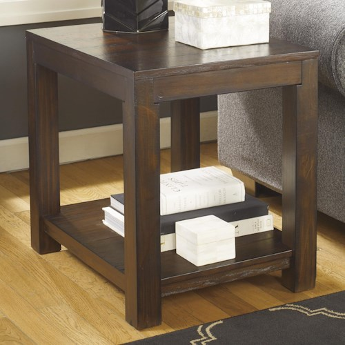 Signature Design by Ashley Grinlyn Rustic Pine Rectangular End Table with Shelf