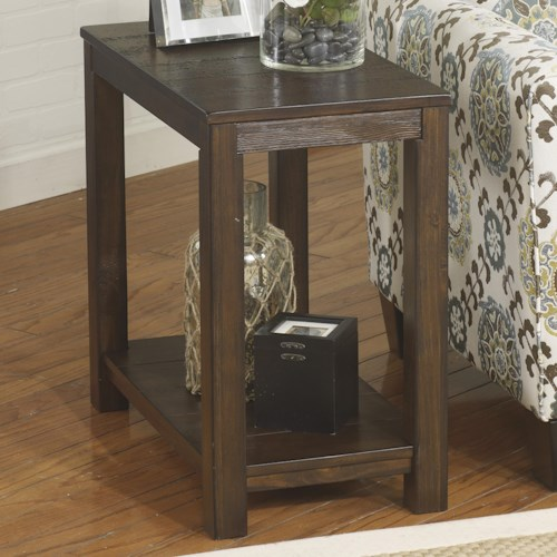 Signature Design by Ashley Grinlyn Rustic Pine Chair Side End Table with Shelf