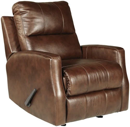 Signature Design by Ashley Gulfbay Leather Match Rocker Recliner with Track Arms