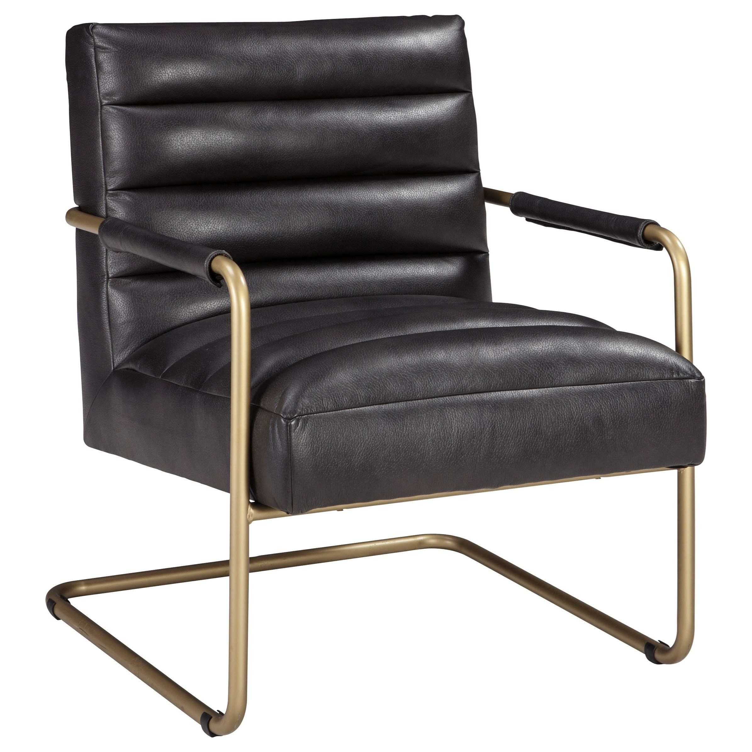 Gold Finish Metal Arm Accent Chair with Black Faux Leather Upholstery