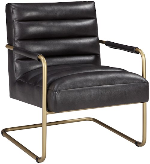 Signature Design by Ashley Hackley Gold Finish Metal Arm Accent Chair with Black Faux Leather Upholstery