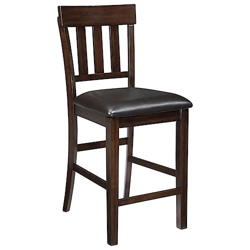 Signature Design by Ashley Haddigan Upholstered Barstool with Slat Back & Faux Leather Seat