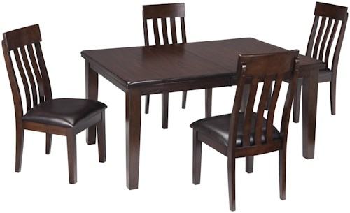 Signature Design by Ashley Haddigan 5-Piece Rectangular Dining Room Table w/ Oak Veneers and Upholstered Dining Side Chair w/ Lumbar Curve Set