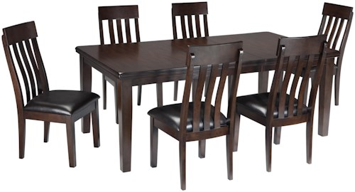 Signature Design by Ashley Haddigan 7-Piece Rectangular Dining Room Table w/ Oak Veneers and Upholstered Dining Side Chair w/ Lumbar Curve Set