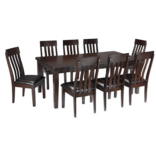 Signature Design by Ashley Haddigan 9-Piece Rectangular Dining Room Table w/ Oak Veneers and Upholstered Dining Side Chair w/ Lumbar Curve Set
