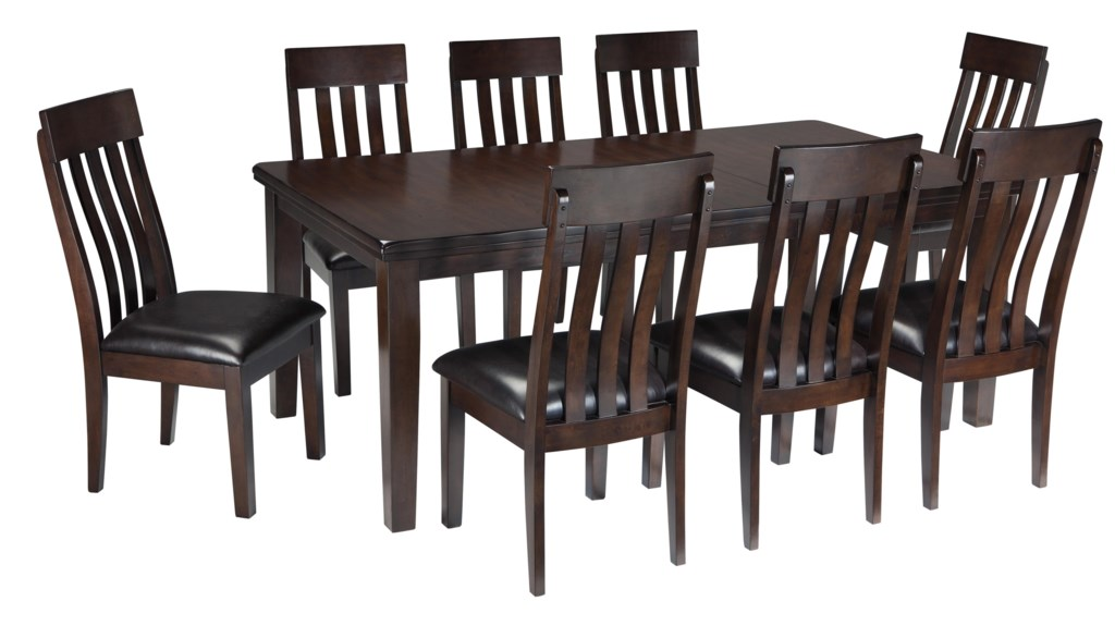 ashley signature design haddigan 9 piece rectangular dining room ashley signature design haddigan 9 piece rectangular dining room table w oak veneers and upholstered dining side chair w lumbar curve set dunk bright