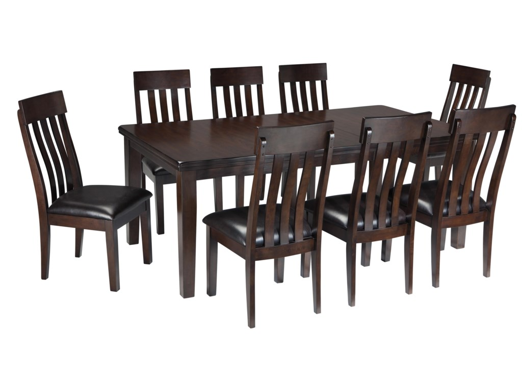 Haddigan 9 Piece Rectangular Dining Room Table W Oak Veneers And Upholstered Side Chair Lumbar Curve Set By Ashley Signature Design