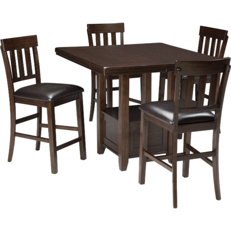 5-Piece Dining Room Counter Ext Table Set