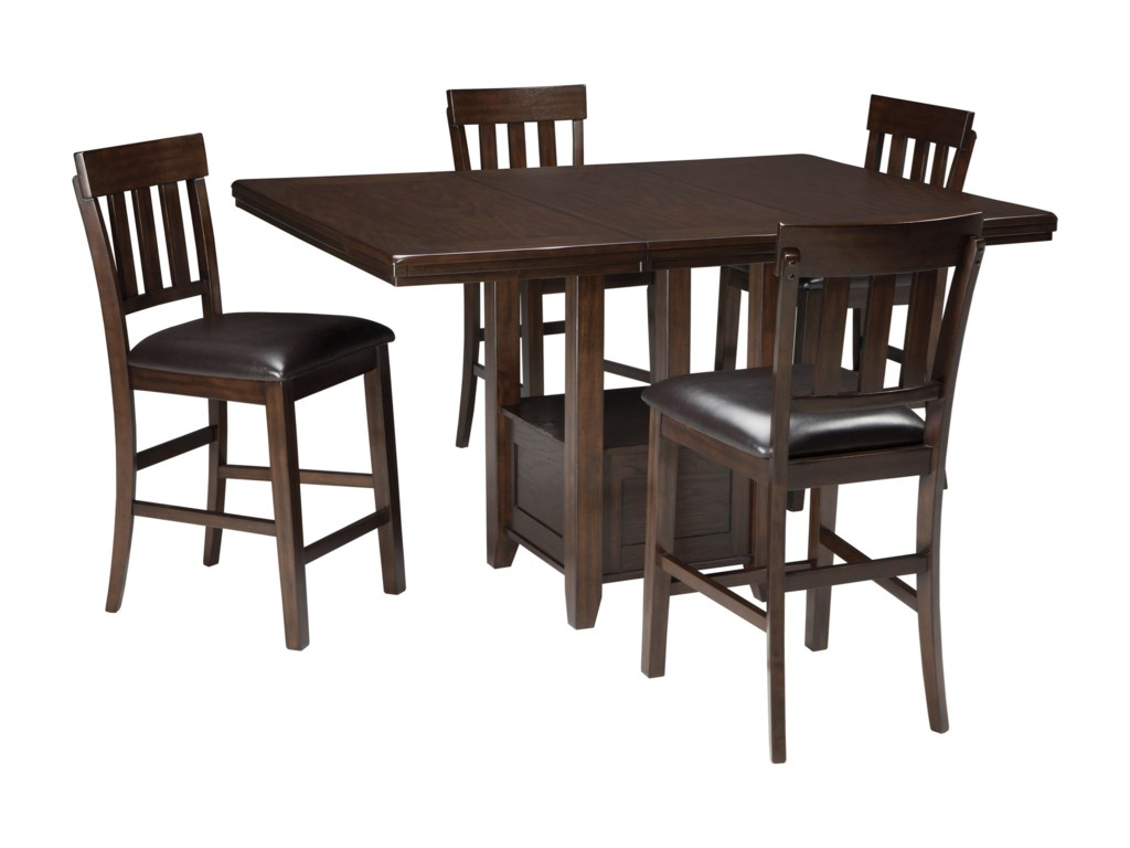 Ashley (Signature Design) Haddigan5-Piece Dining Room Counter Ext Table Set