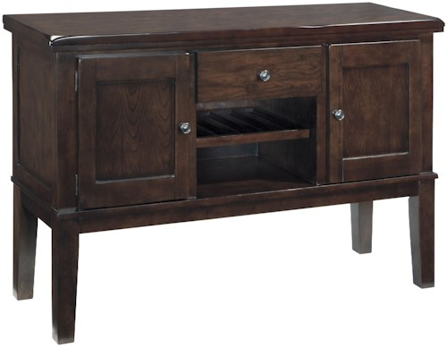 Signature Design by Ashley Haddigan Dining Room Server w/ Fully Finished Drawer Boxes and Bottle Rack