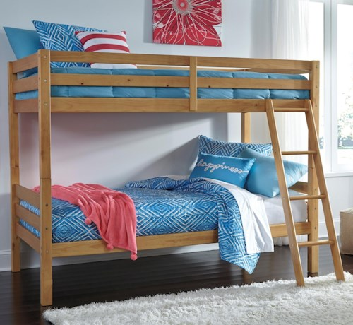 Signature Design by Ashley Hallytown Solid Pine Twin/Twin Bunk Bed