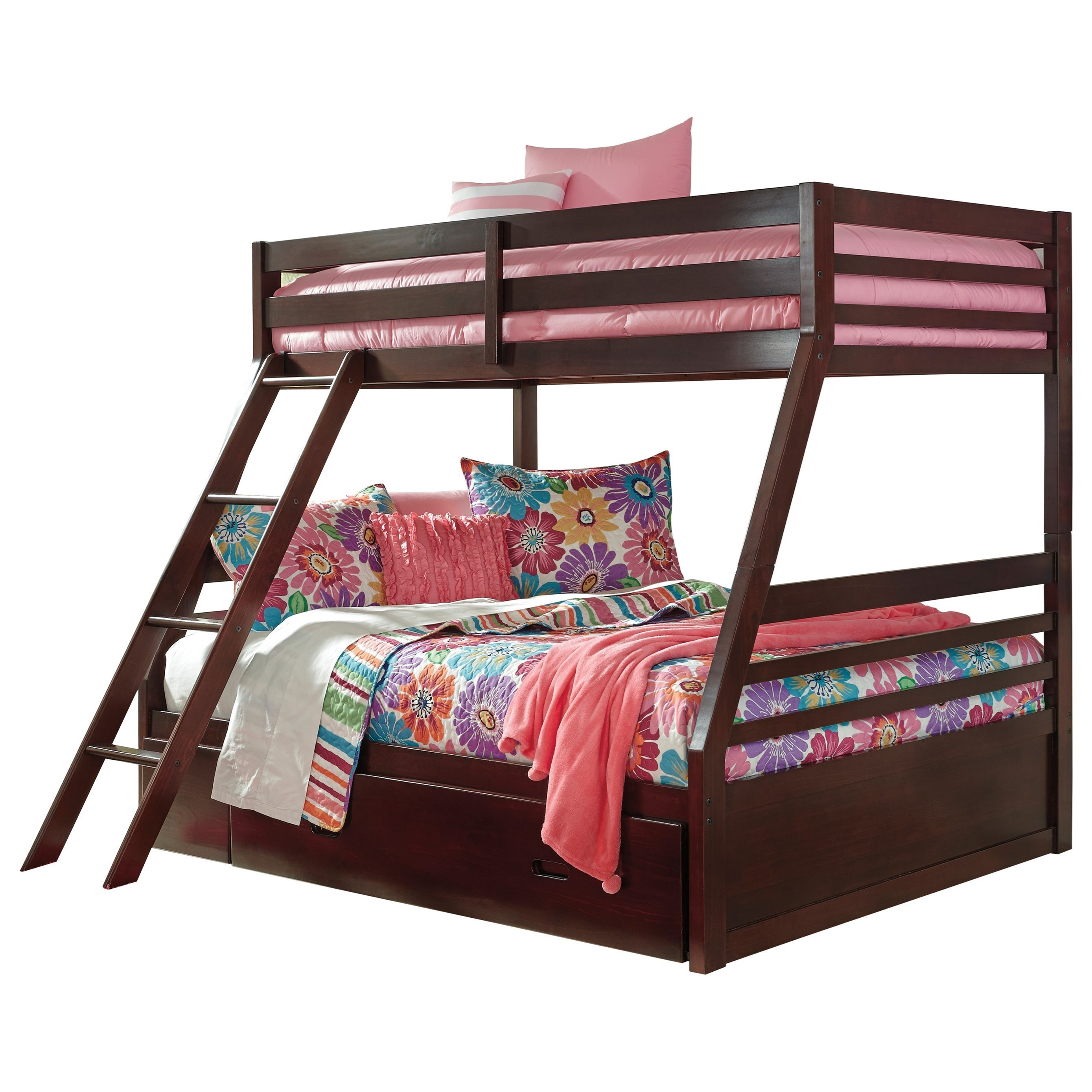 Image of: Signature Design By Ashley Halanton Solid Pine Twin Full Bunk Bed W Under Bed Storage Royal Furniture Bunk Beds