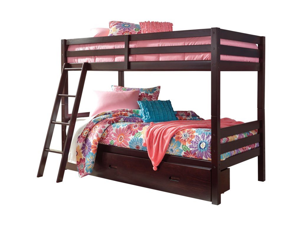 Signature Design by Ashley Halanton Solid Pine Twin/Twin Bunk Bed w ...