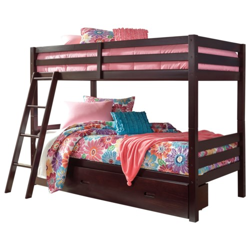 Signature Design By Ashley Halanton Solid Pine Twin Twin Bunk Bed W