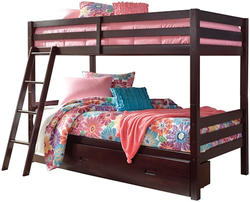 Signature Design by Ashley Halanton Solid Pine Twin/Twin Bunk Bed w/ Under Bed Storage