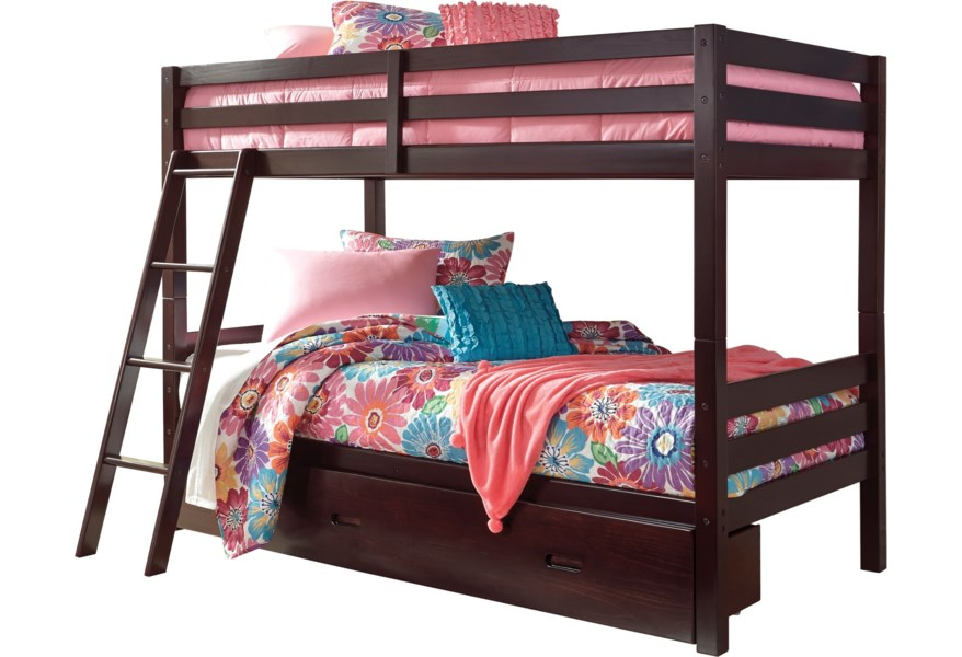 wholesale dealer 11eba 71122 Halanton Solid Pine Twin/Twin Bunk Bed w/ Under Bed Storage by Ashley  Signature Design at Dunk & Bright Furniture