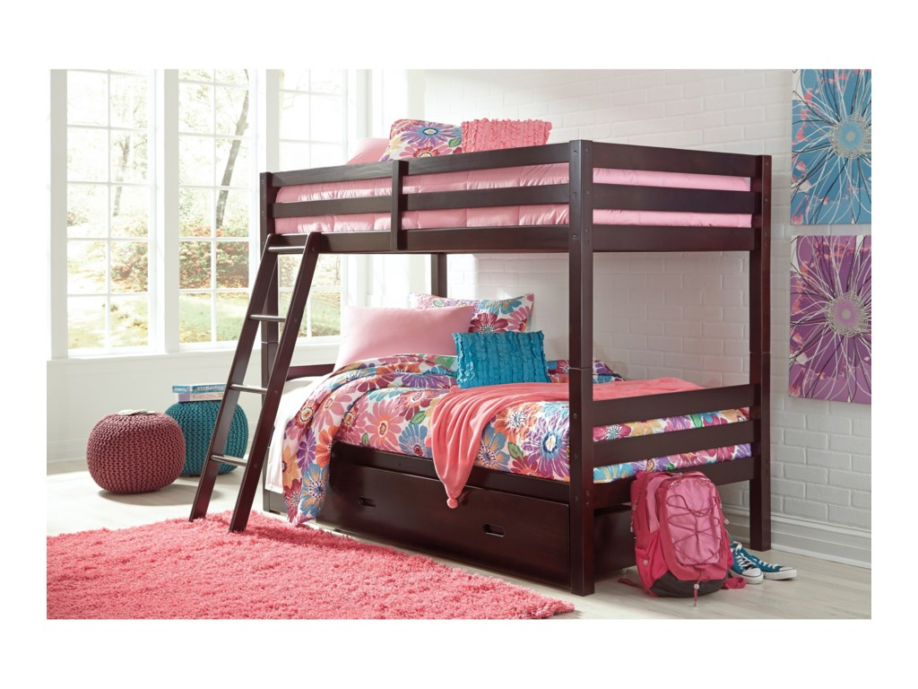 Ashley Signature Design HalantonTwin/Twin Bunk Bed w/ Under Bed Storage