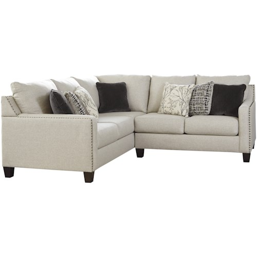 Signature Design by Ashley Hallenberg Two Piece Sectional with Nailhead Trim Accents