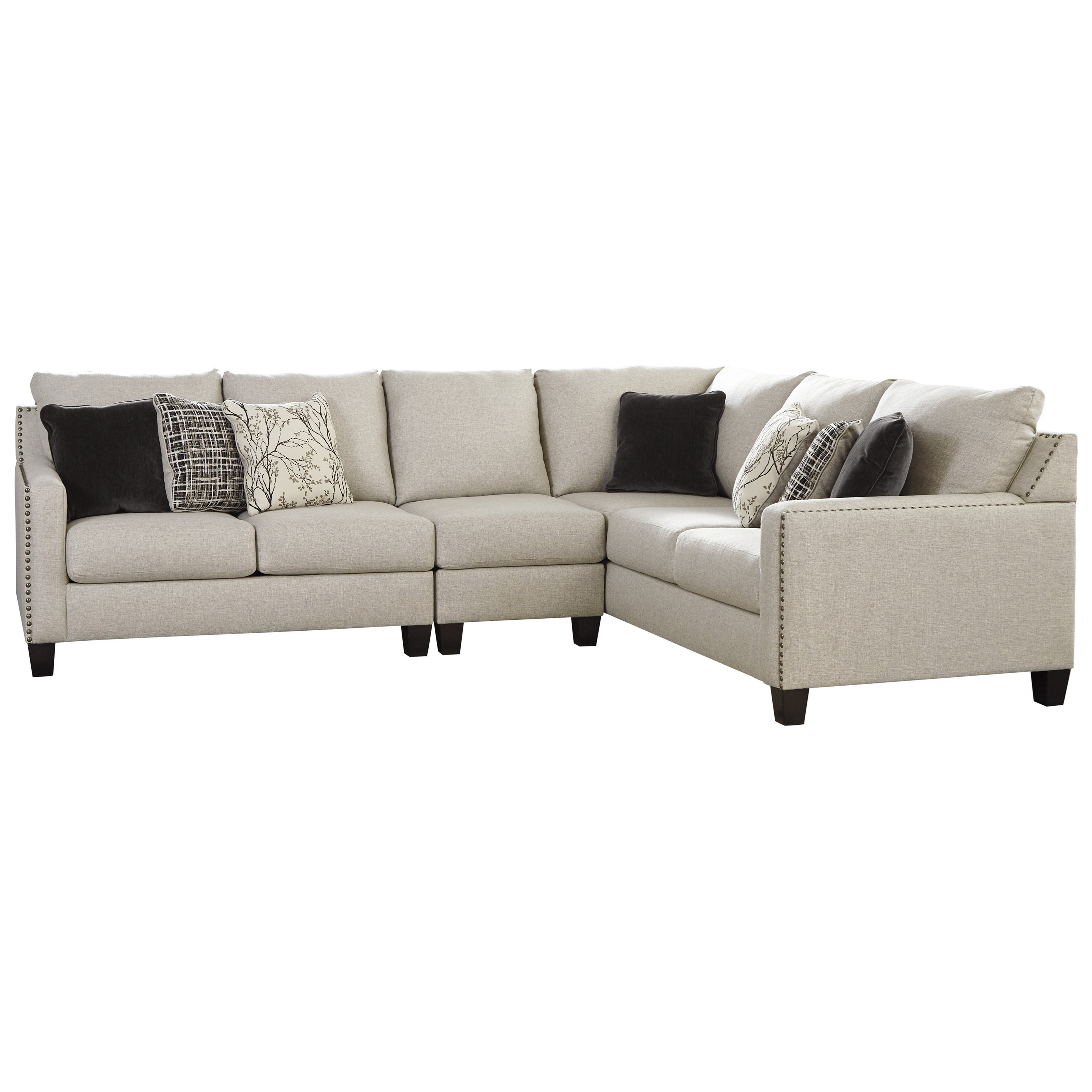 3-Piece Sectional with Nailhead Trim Accents