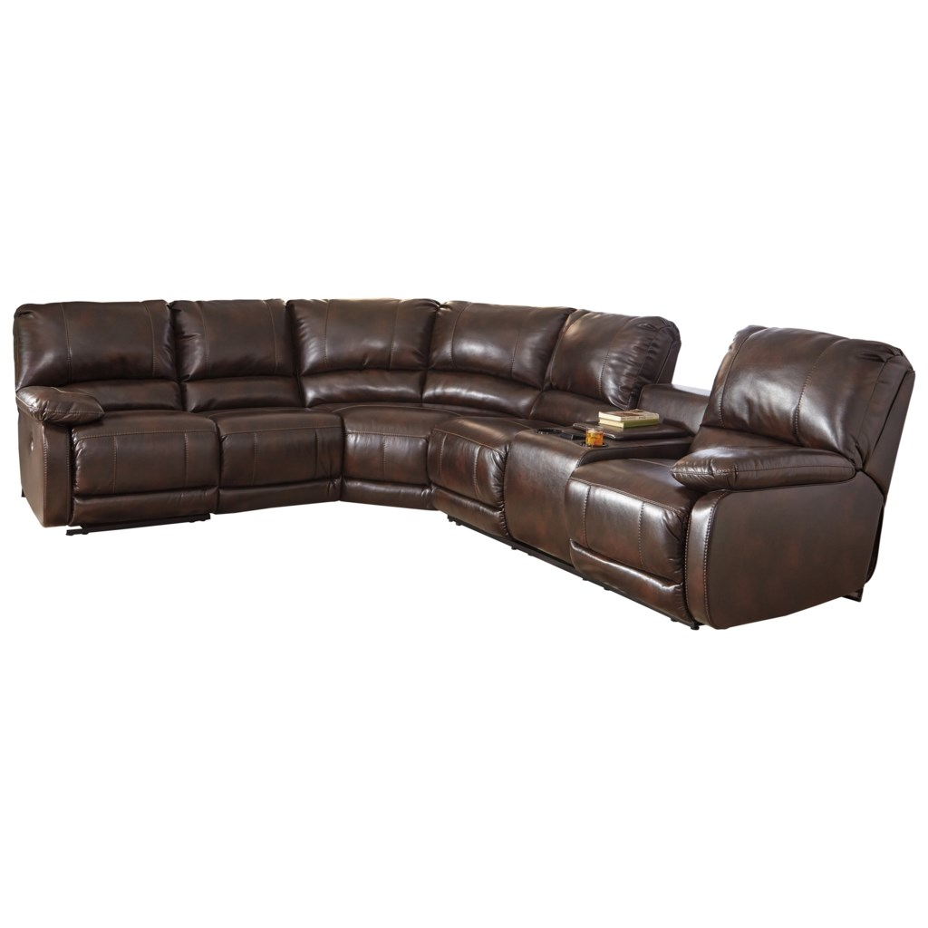 Signature Design By Ashley Hallettsville Power Reclining Sectional  ~ Dual Recliner Sectional Sofa