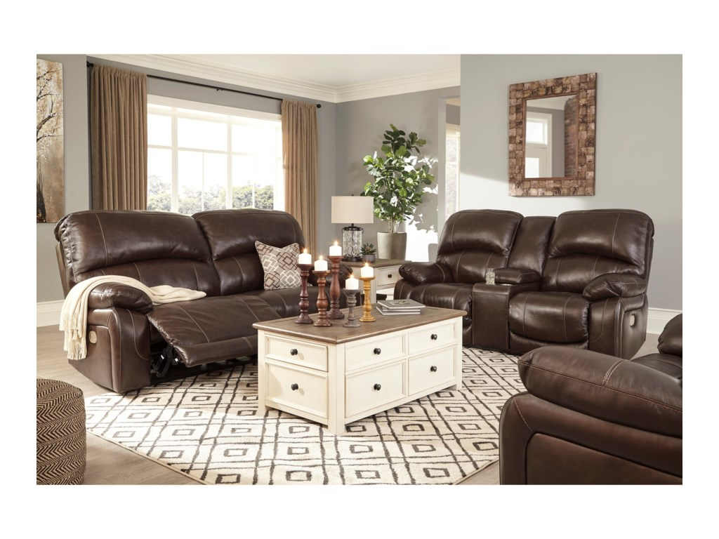 Signature Design by Ashley HallstrungPwr Rec Loveseat with Console & Adj Hdrsts