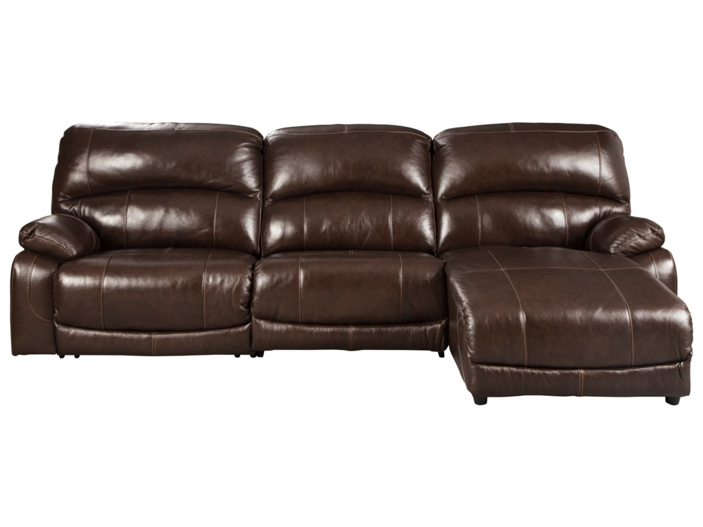 Hallstrung Leather Match 3-Piece Reclining Sectional with Right Chaise by  Signature Design by Ashley at Furniture and ApplianceMart