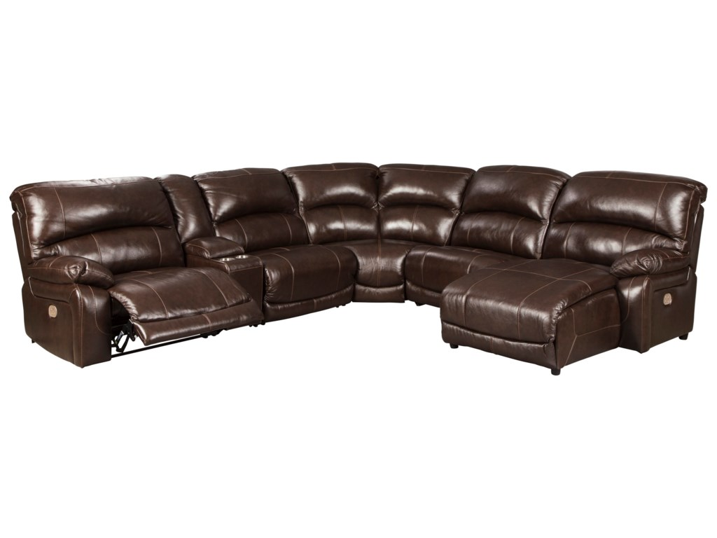 Hallstrung Leather Match 6-Piece Reclining Sectional with Right Chaise &  Console by Signature Design by Ashley at Royal Furniture